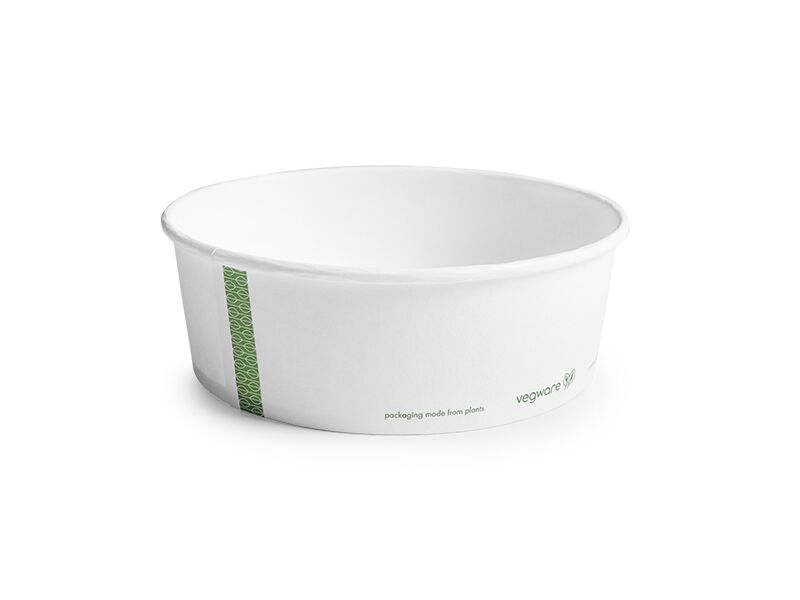 *SPECIAL ORDER ITEM* 32 oz paper bowl, Material: PLA lined paper, Color: White w/green print, Compostable, 300/cs *SEE DETAILS BELOW*