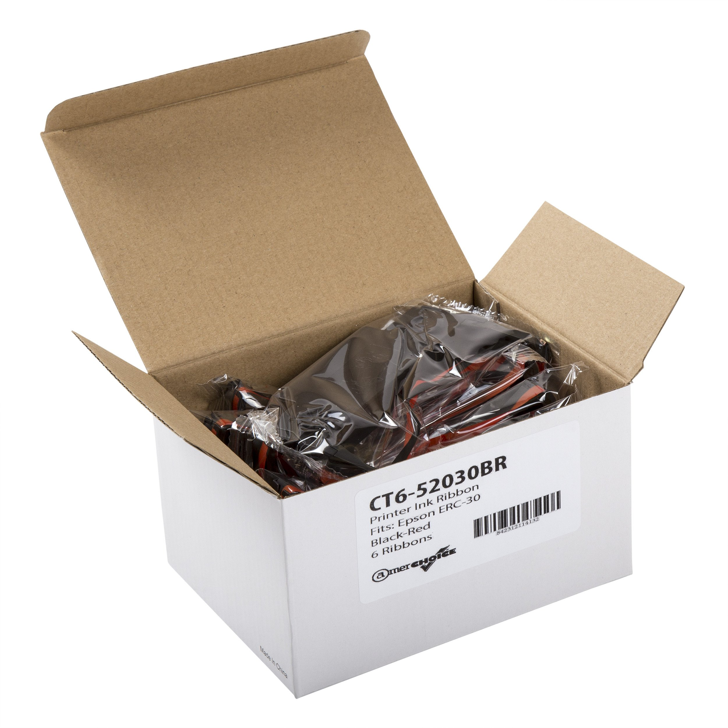 CT652030BR POS printer ribbon, Epson ERC-30/34/38, Black-Red, 6 Per Box