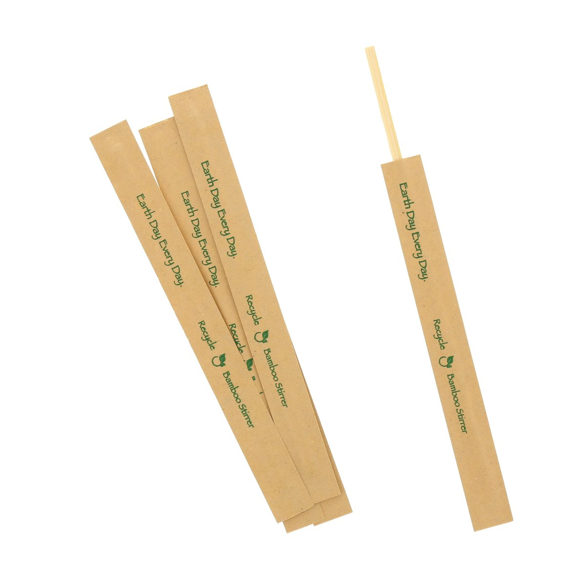 "Bamboo Stir Sticks, Length: 7"", Material: Kraft Paper Wrapped Bamboo, Color: Natural, 5000/cs"