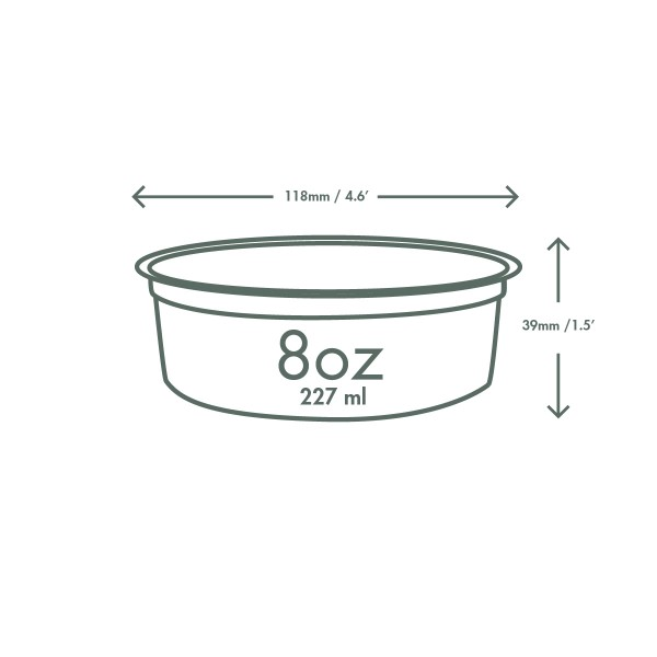 8 oz round deli container, Material: PLA, Color: Clear, Compostable, 500/cs
