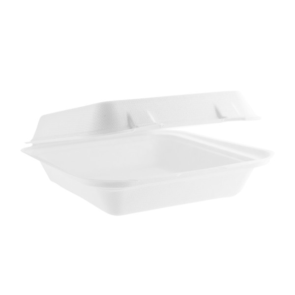 "Take-Out Container, hinged, Size: 8""x8""x3"", Material: Sugarcane Fiber, Color: White, Compostable, 200/cs"
