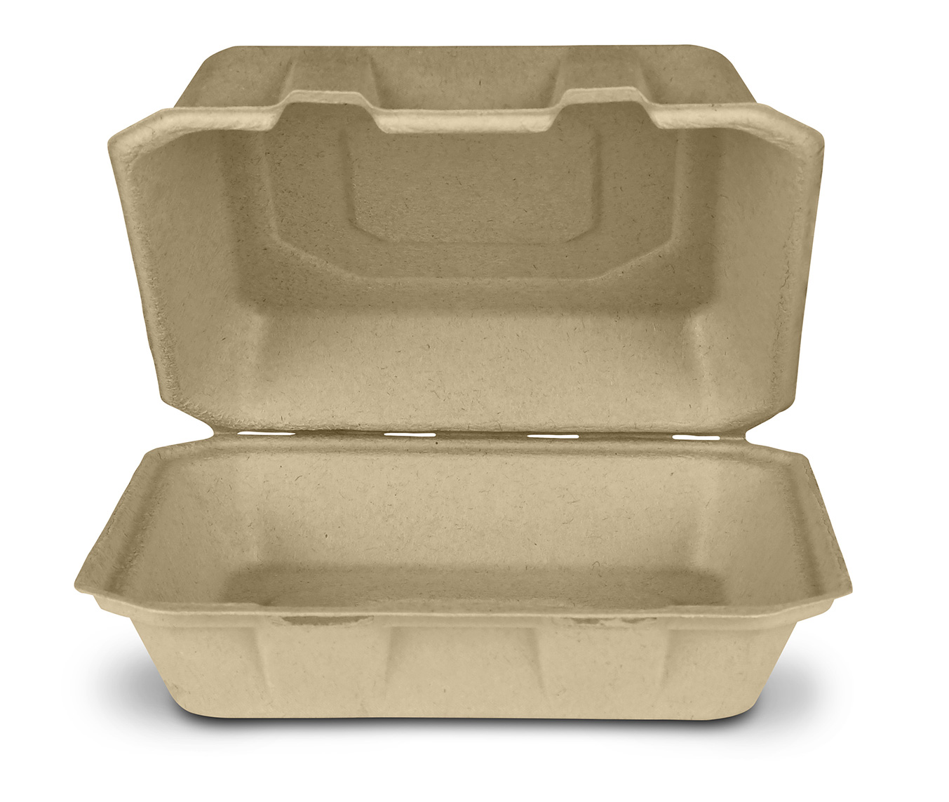 "Take-Out Container, Hinged, 8""x8"", Compostable, Kosher Certified, Chlorine-free Natural Sugarcane, Kraft, 200/cs, Made in USA"