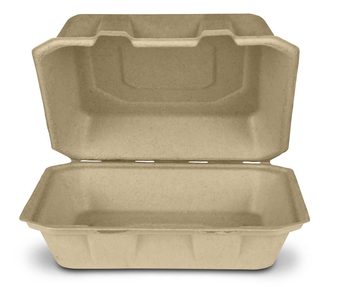 "Take-Out Container, Hinged, 9""x9"", Compostable, Kosher Certified, Chlorine-free Natural Sugarcane, Kraft, 200/cs, Made in USA"