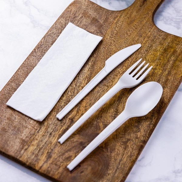 Knife, Fork, Spoon & Napkin Cutlery Kit, Off-White, 100% Compostable (including wrapper), 250 kits/cs