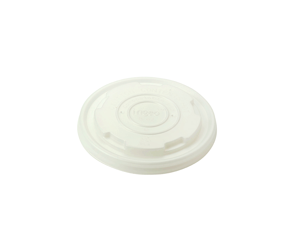 Lid for 8 oz Hot Food Container, Material: PLA, Compostable, 1000/cs