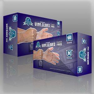 Vinyl gloves, powder free, Size: large, Color: clear, 1000/cs
