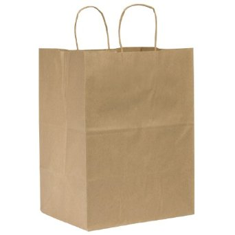 Paper Bag with Handles, Size: 12x9x15.75, Color: Natural, 200/cs