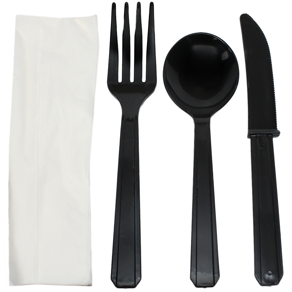 Fork, knife, soup spoon & white 1-ply napkin cutlery kit, Color: Black, Heavy Weight, 250 kits/cs