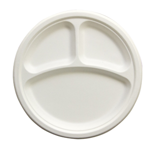 "Eco-Friendly 100% Compostable Sugarcane fiber, Heavy Weight Plate, Size: 10"", 3-Comp, Color: Natural, 500/cs"