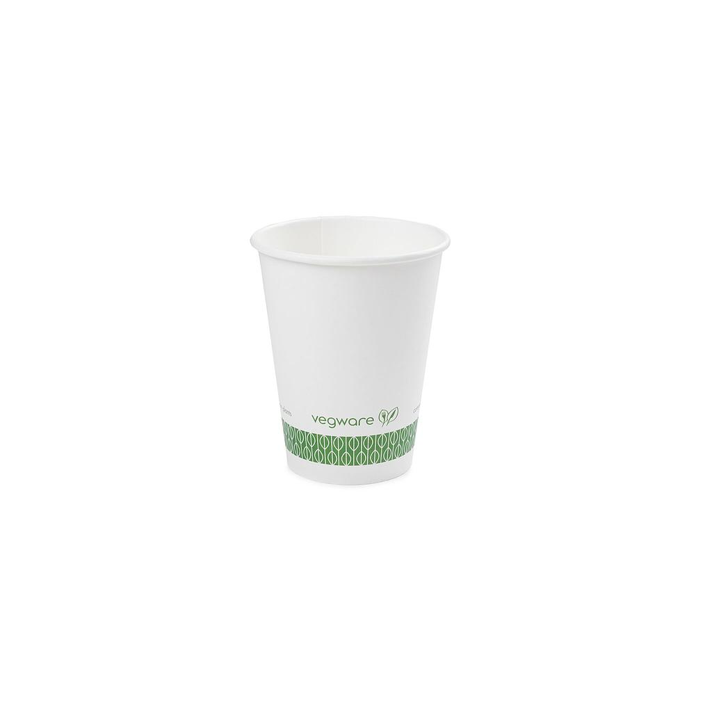 12 oz Hot Cup, Material: PLA lined paper, Color: White with Green Print, Compostable, 1000/cs