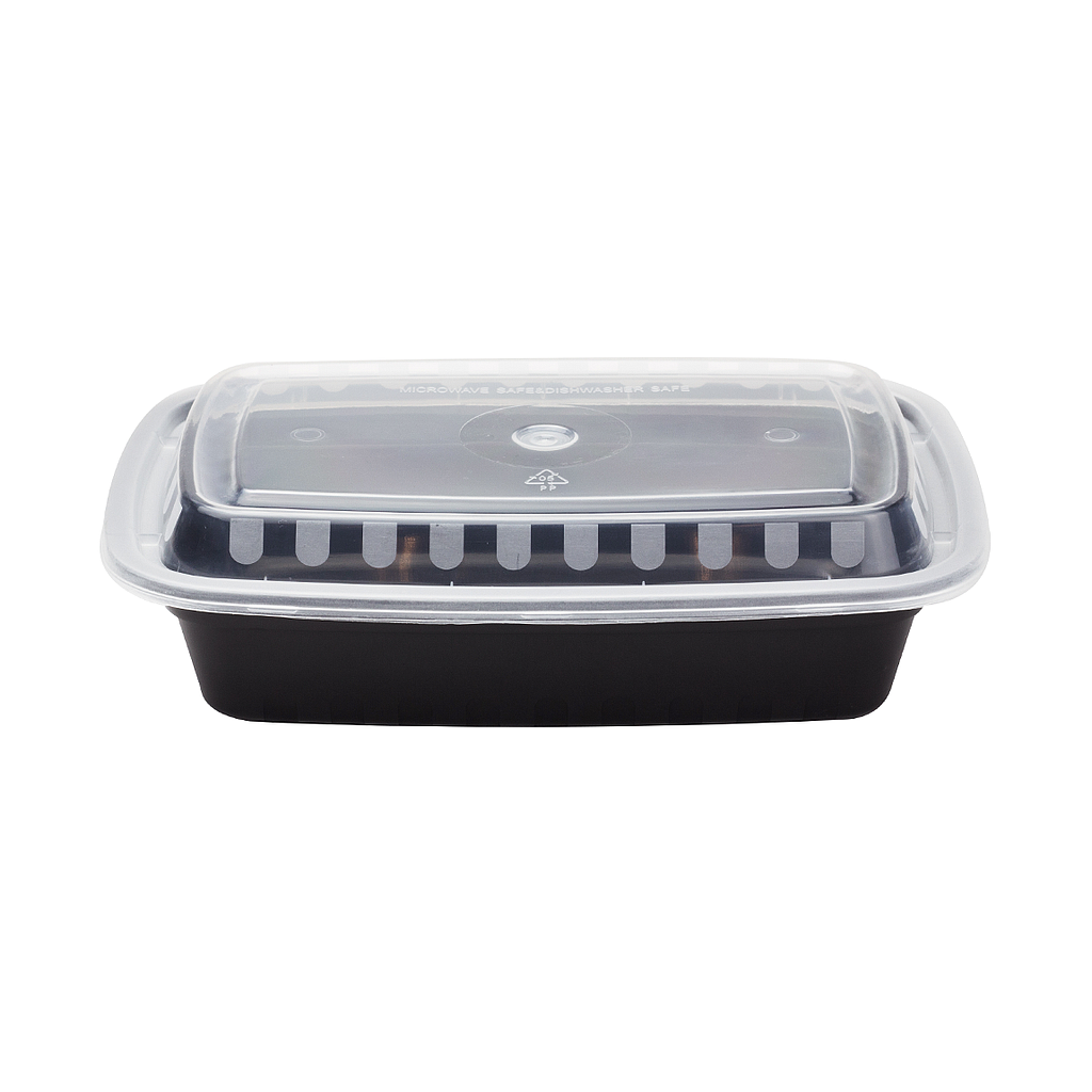 "24 oz PP Injection Molded Microwaveable Black Food Containers w/clear lids, RECTANGULAR, Size: 7.9""x5.5""x1.6"", 150sets/cs"