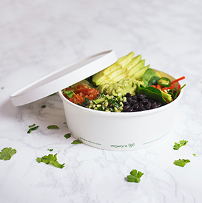 *SPECIAL ORDER ITEM* 32 oz paper bowl, Material: PLA lined paper, Color: White w/green print, Compostable, 300/cs *ESTIMATED DELIVERY 4 TO 6 WEEKS* (NOT RETURNABLE)