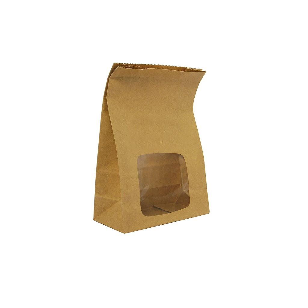 "*SPECIAL ORDER ITEM* To Go Food Bag w/window, Material: Recycled Paper, Size: 6""x3""x9"", Color: Kraft, Compostable, 250/cs *SEE DETAILS BELOW*"
