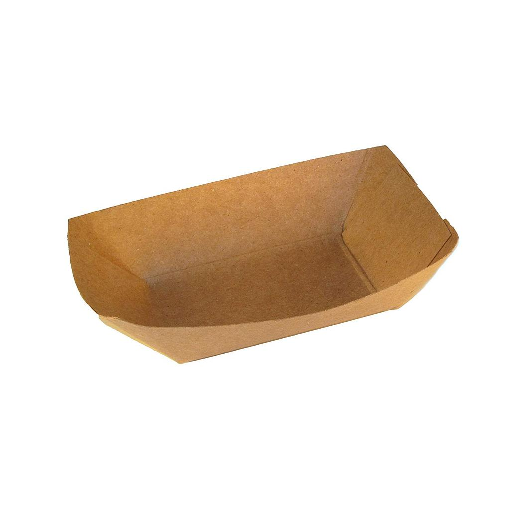 "Food Tray, Capacity: 1/2 lb, Size: 5.375""x3.75""x1.25"", Material: Paper, Color: Kraft, Compostable, 1000/cs"