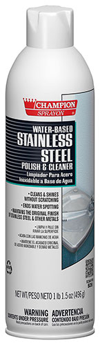 Stainless steel cleaner, water based, 17.5 oz aerosol can; 12/cs