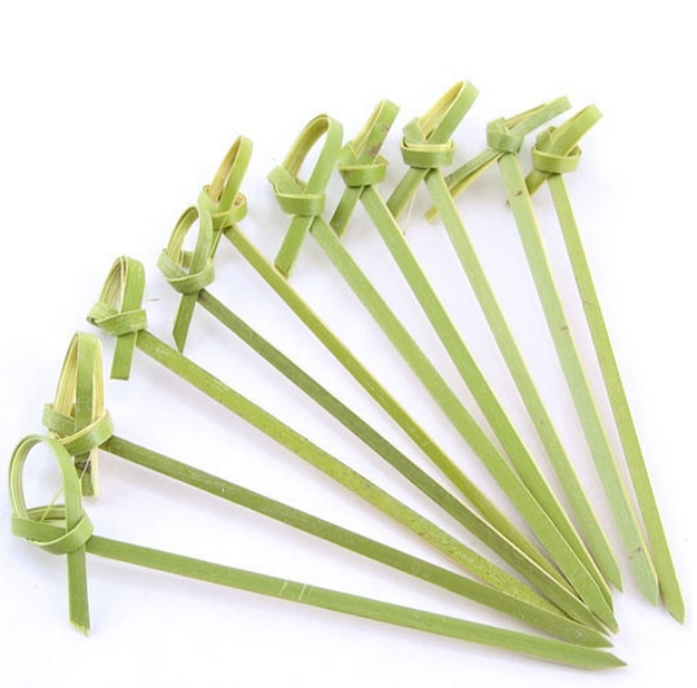 "Bamboo pick with decorative knotted end, Color: green, approximately 3.5"" Long, 1000/box"