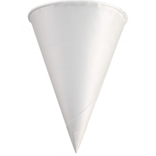 Cone Cup with Rolled Rim, Capacity: 4 oz, Color: White, Material: Paper, 5000/cs
