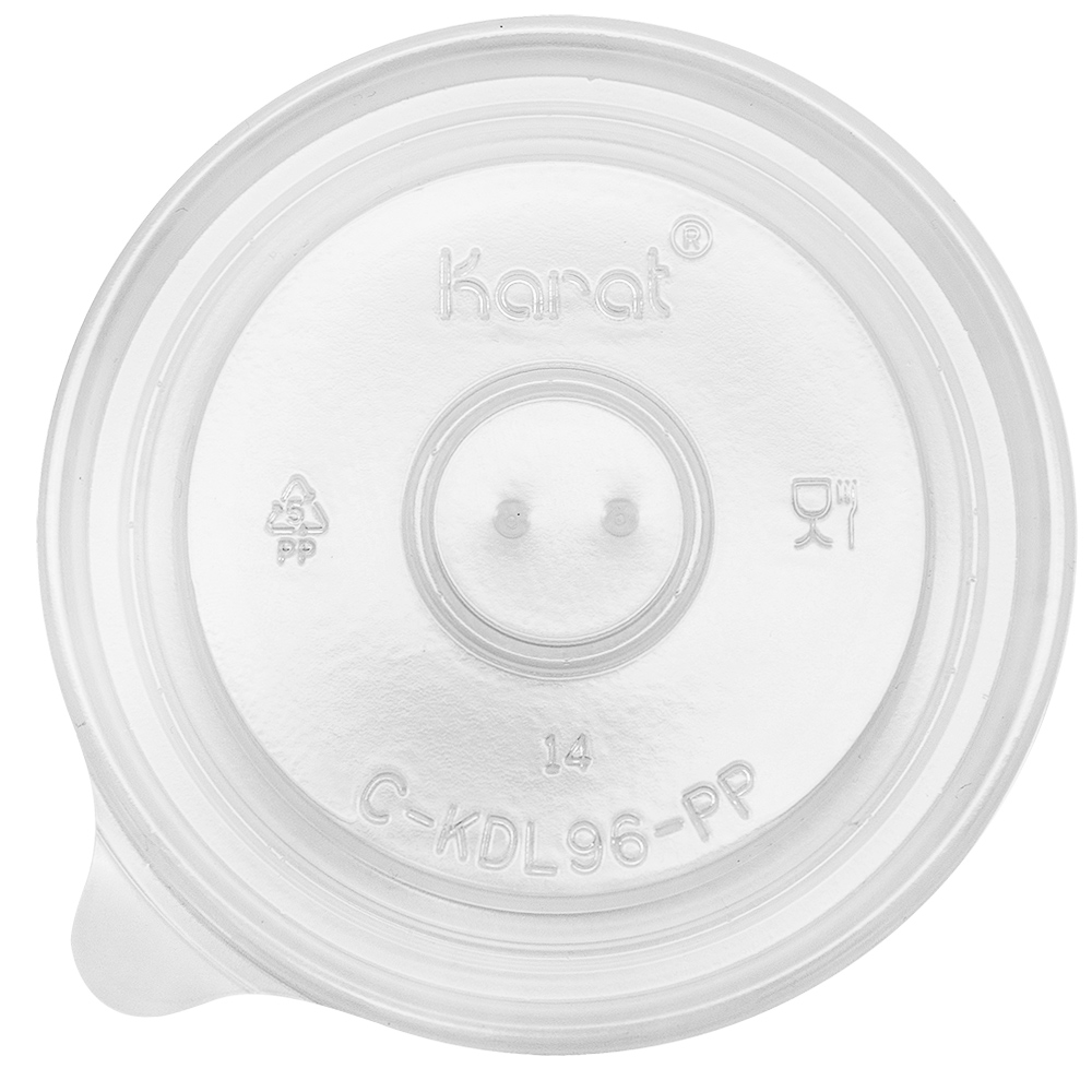 Plastic flat 96mm lid for 10 oz food containers, vented, 1000/cs