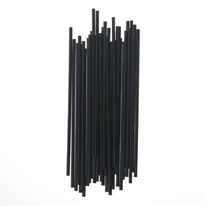 "Cocktail straw, Length: 5.25"", Color: Black, Material: Plastic, Unwrapped, 10000/cs"