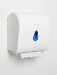 *SPECIAL ORDER ITEM* Autocut Hand Towel Dispenser, Fits: 1ply, 2ply, 3ply paper rolls, Color: White w/Blue Window *ESTIMATED DELIVERY 2 TO 4 WEEKS* (NOT RETURNABLE)
