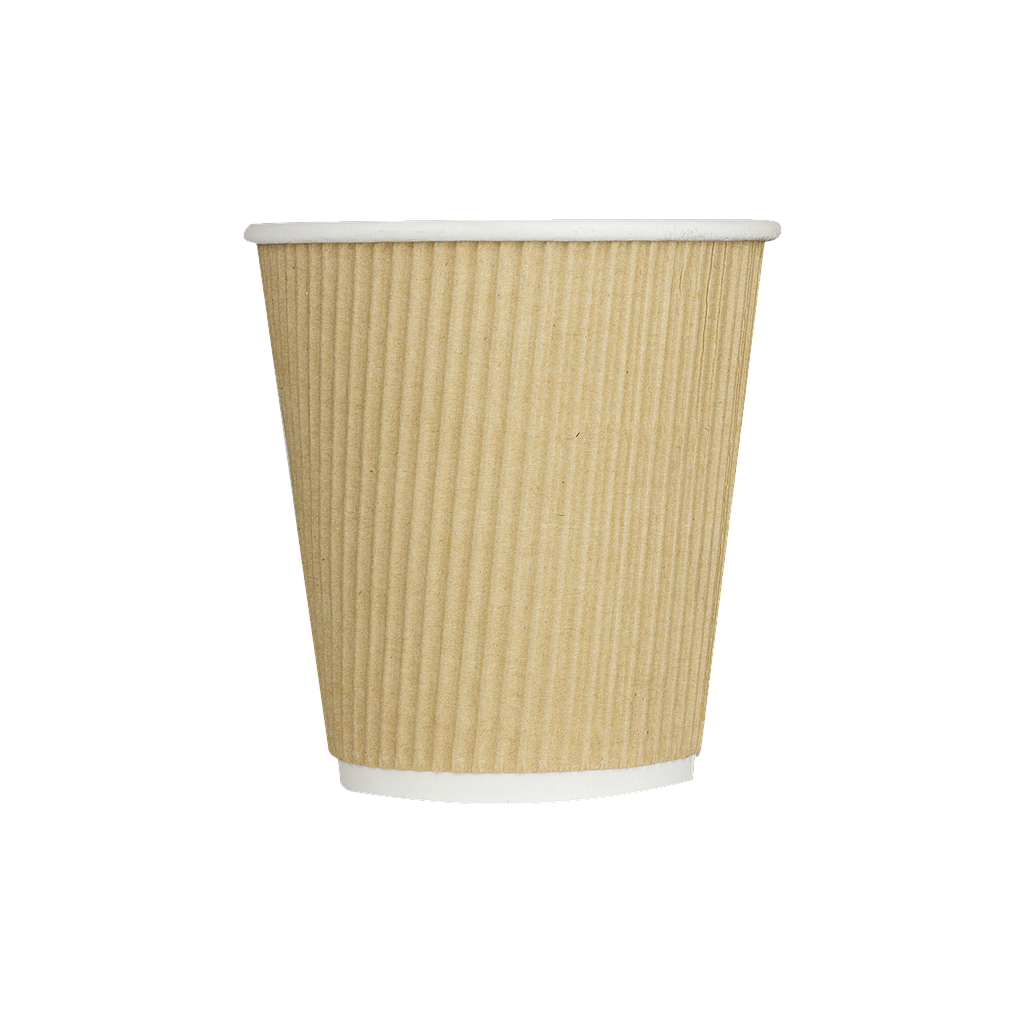 10 oz Ripple Hot Paper Cup, Color: Kraft, 500/cs