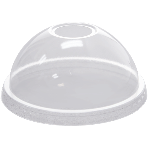 Dome Lid with Hole Fits 12 oz to 24 oz PET cold cups, 1000/cs