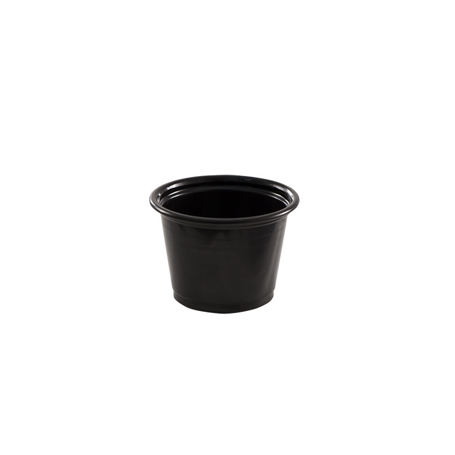 1oz portion cup, plastic, Color: black, 2500/cs
