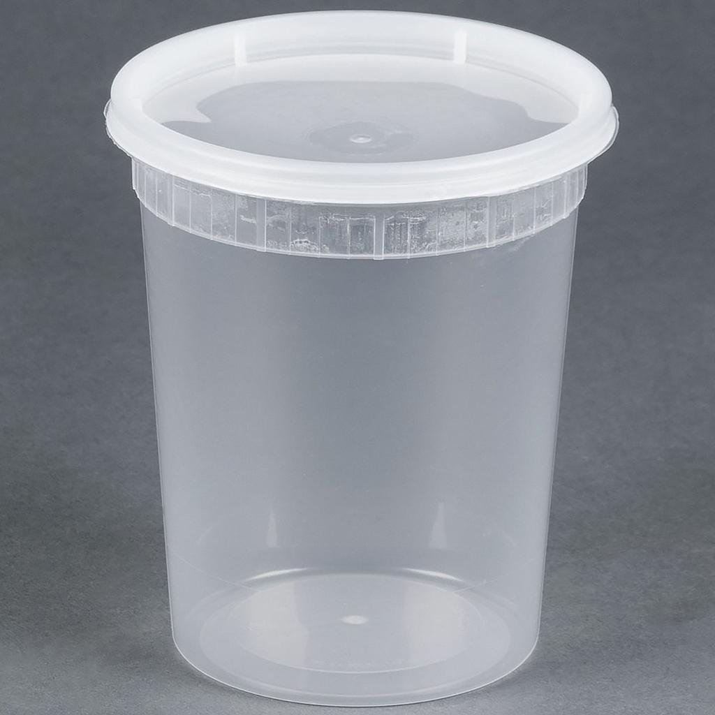 Deli container with matching lid, Capacity: 32 oz, Color: clear, Suitable for hot foods, 240 sets/cs