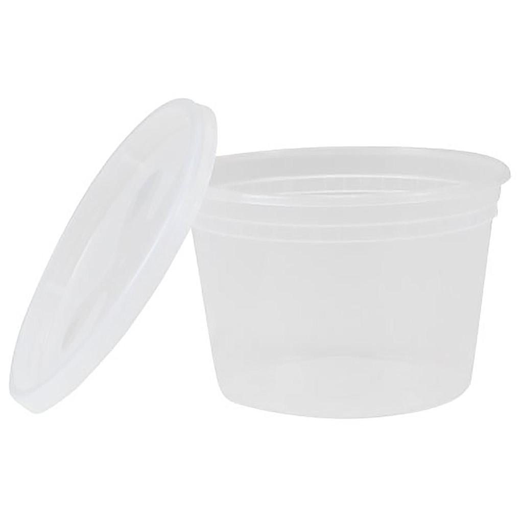 *SPECIAL ORDER ITEM* Deli container with matching lid, Capacity: 16 oz, Color: clear, Suitable for hot foods, 240 sets/cs, Special Order, Non-refundable, 1 week lead time