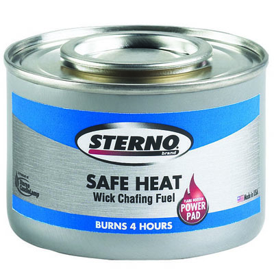Safe Heat Wick Chafing Fuel with Power Pad, Each burns approximately 4 hours, 24/cs