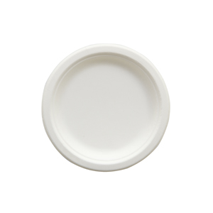"Eco-Friendly Heavy Weight Round Plate, Size: 6"", Material: Sugarcane Fiber, Color: Natural, Certified 100% Compostable, 1000/cs"