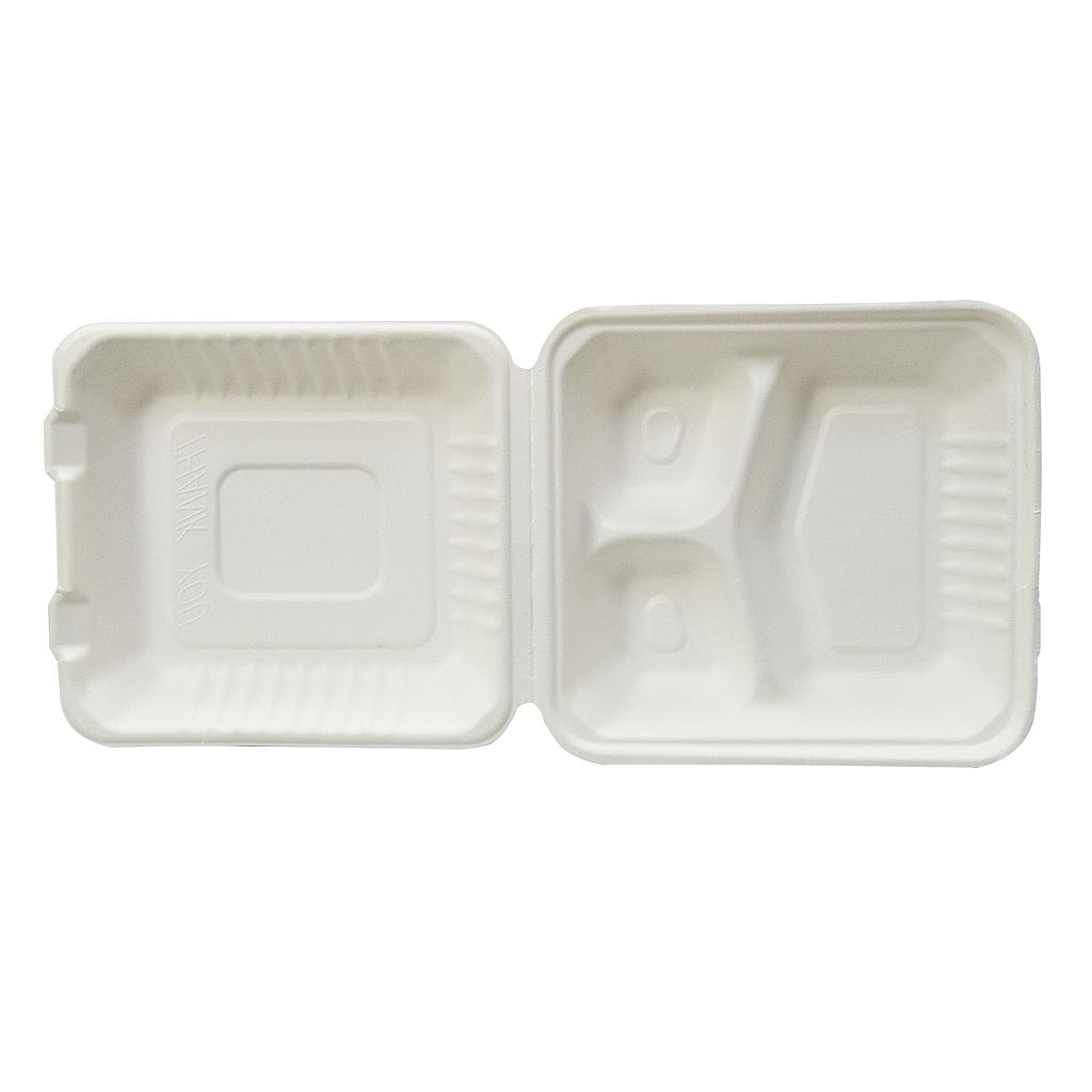 *SPECIAL ORDER ITEM* Take-Out Container, 9 x 9, 3-Comp, Sugarcane fiber, Compostable, 200/cs *SPECIAL ORDER ITEM* SEE DETAILS BELOW
