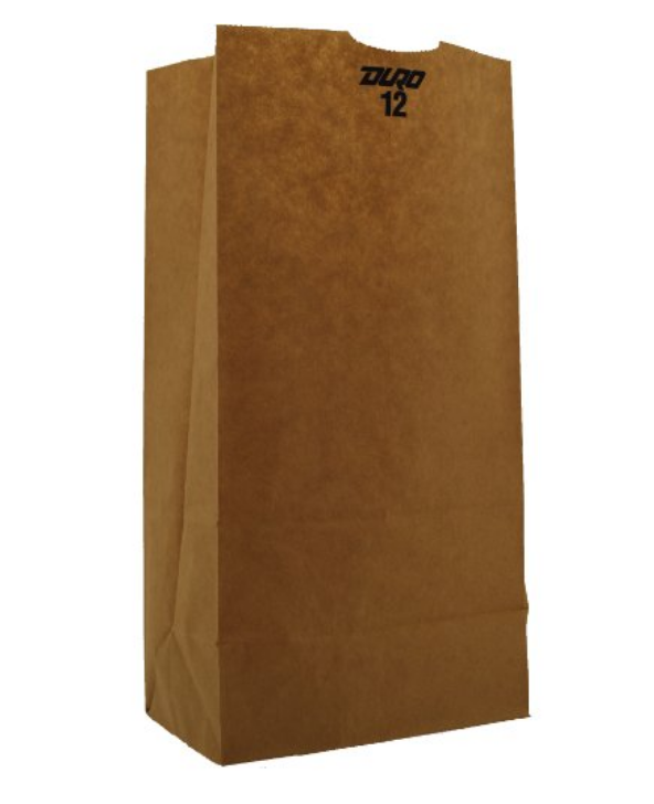 12# Grocery Paper Bag, Size: 7.06x4.5x13.75, Color: Natural, 100% Recycled Paper, 500/cs