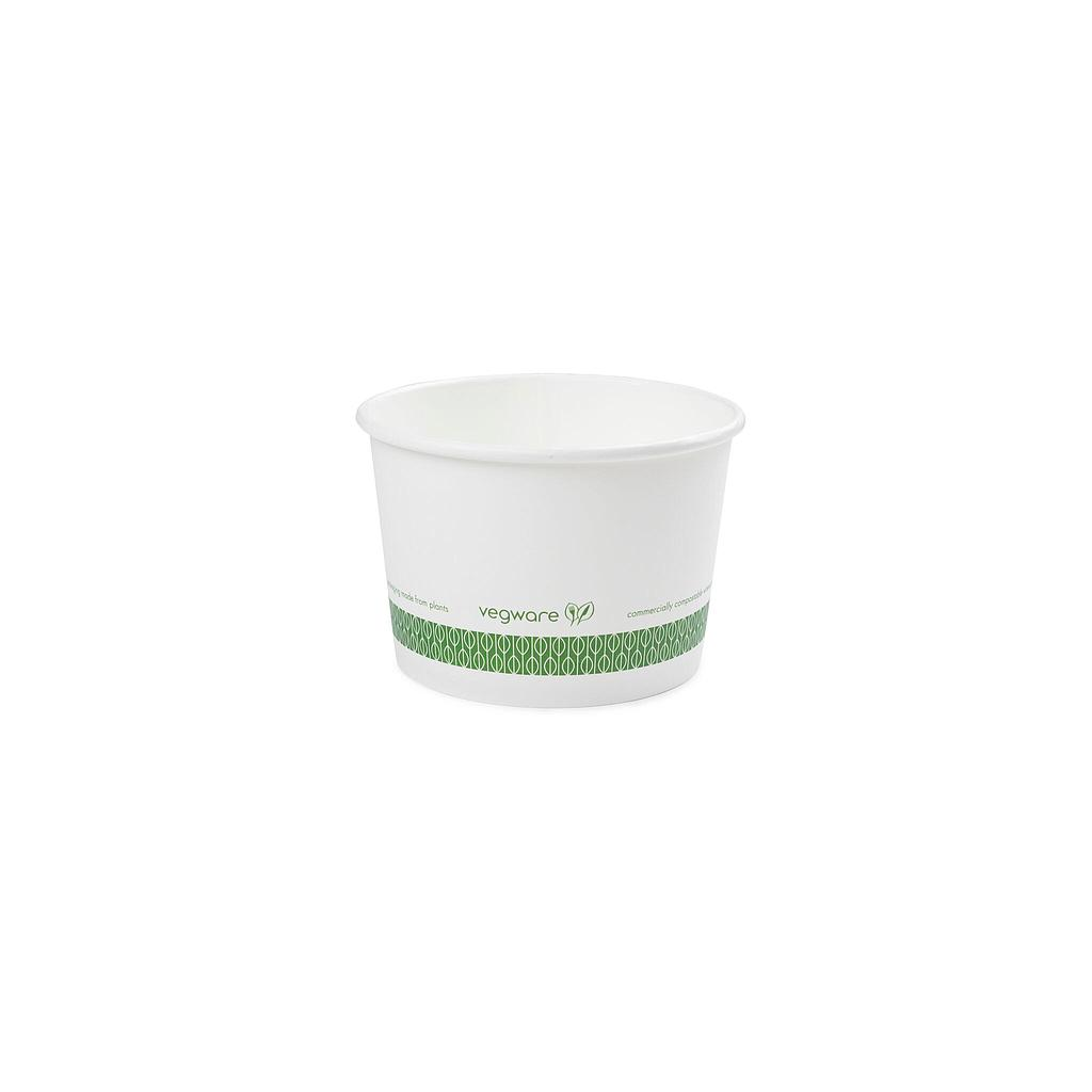 16 oz Hot Food Container / Soup Container, Material: PLA Coated Paper, Color: White w/Green Print, Compostable 500/cs