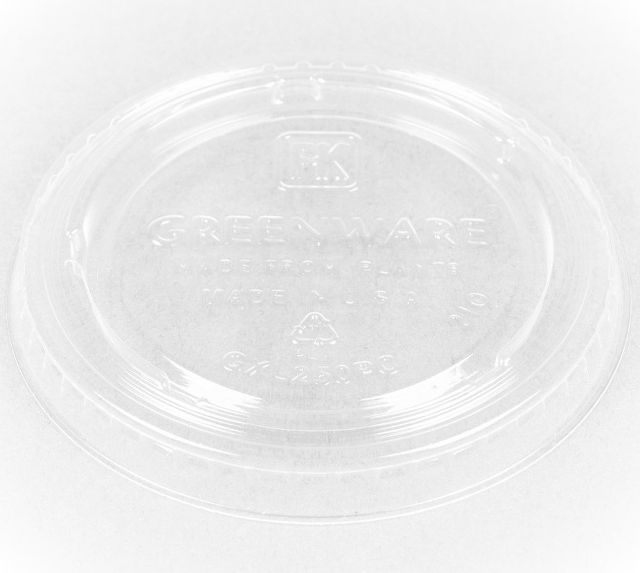 Lid for 2 oz PLA Portion Cup, Flat, Material: PLA, Color: Clear, Compostable, 2000/cs