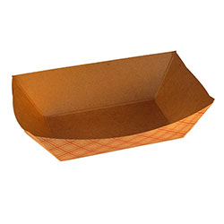 Food Tray, Capacity: 3 lb, Material: Paper, Color: Natural w/Plaid, Compostable, 500/cs