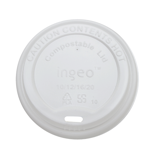 Hot Cup Dome Lid Fits 10 oz to 20 oz cups, Material: PLA, Color: White, Compostable, 1000/cs