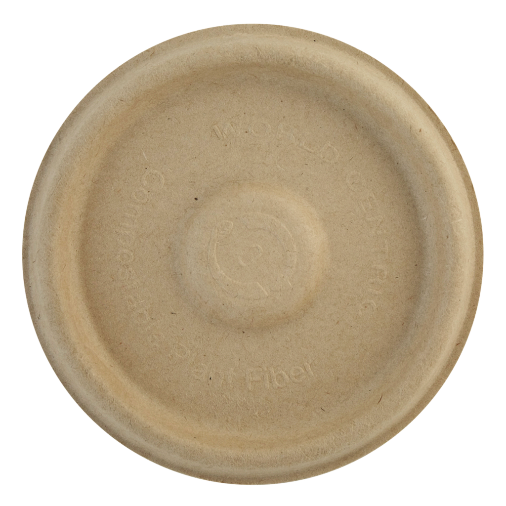 Flat lid for 4 oz portion cup, Material: Unbleached plant fiber, Color: Natural, 1000/cs
