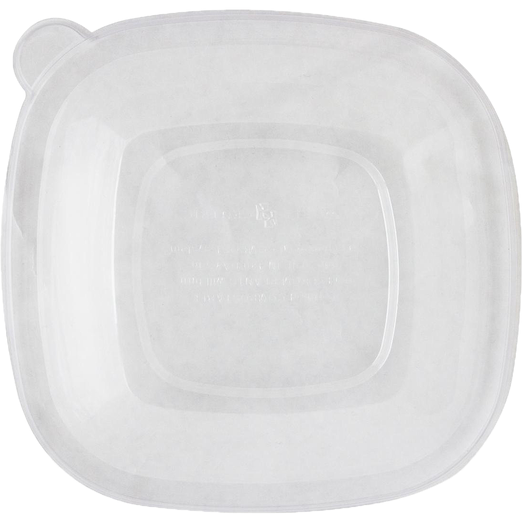 Vented Lid for 24 oz - 48 oz Square Bowl, Material: PLA, Color: Clear, Compostable, 200/cs