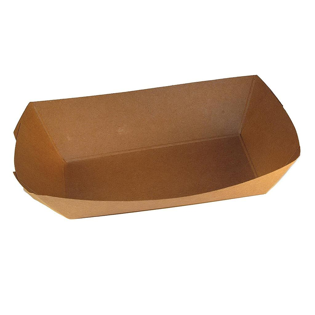 "Food Tray, Capacity: 3 lb, Size: 8.125""x5.875""x2.125"", Material: Uncoated Paper, Color: Kraft, Compostable, 500/cs"