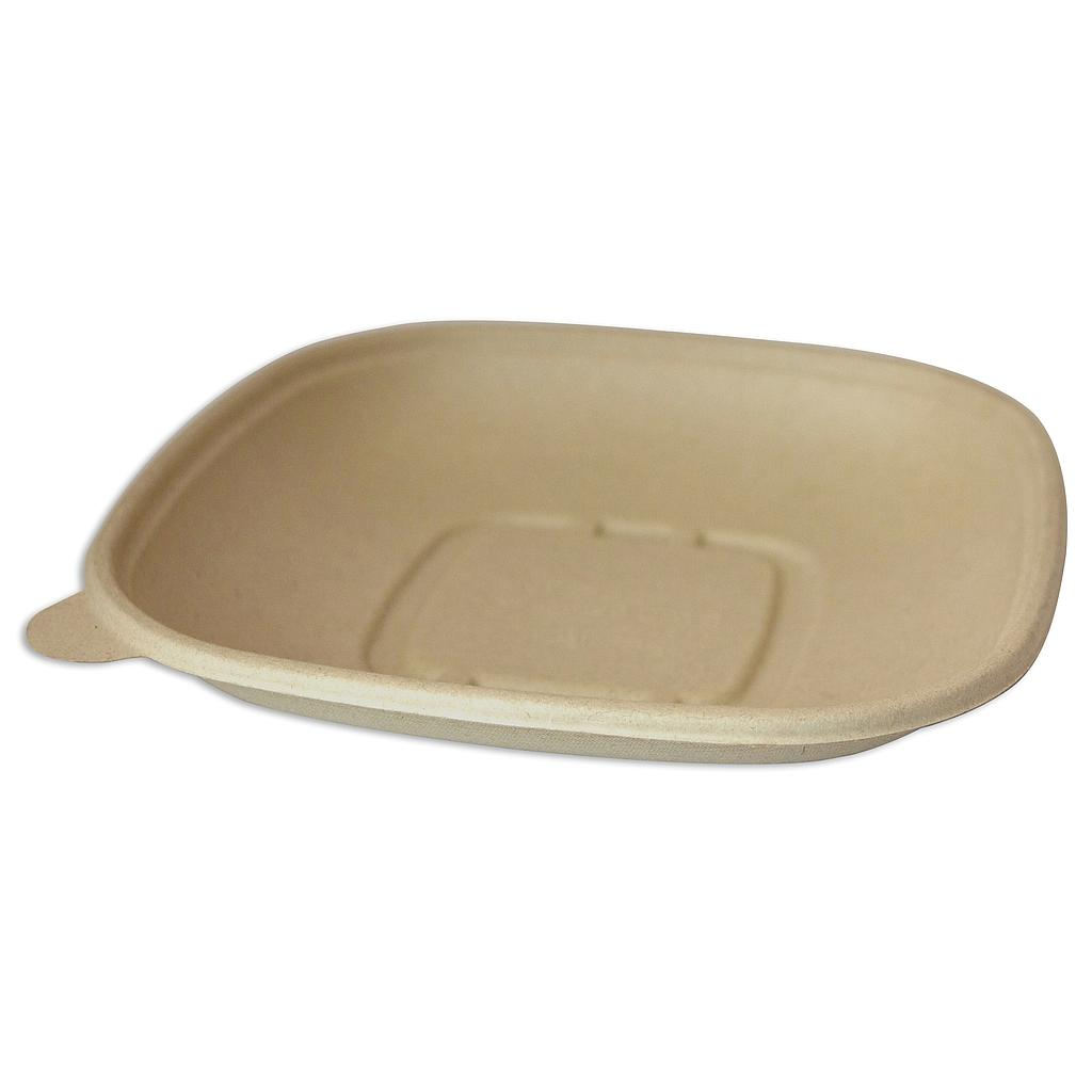 "24 oz Square Bowl, Size: 8.5""x8.5""x1.25"", Material: Plant Fibers, Color: Natural, Compostable, 400/cs"
