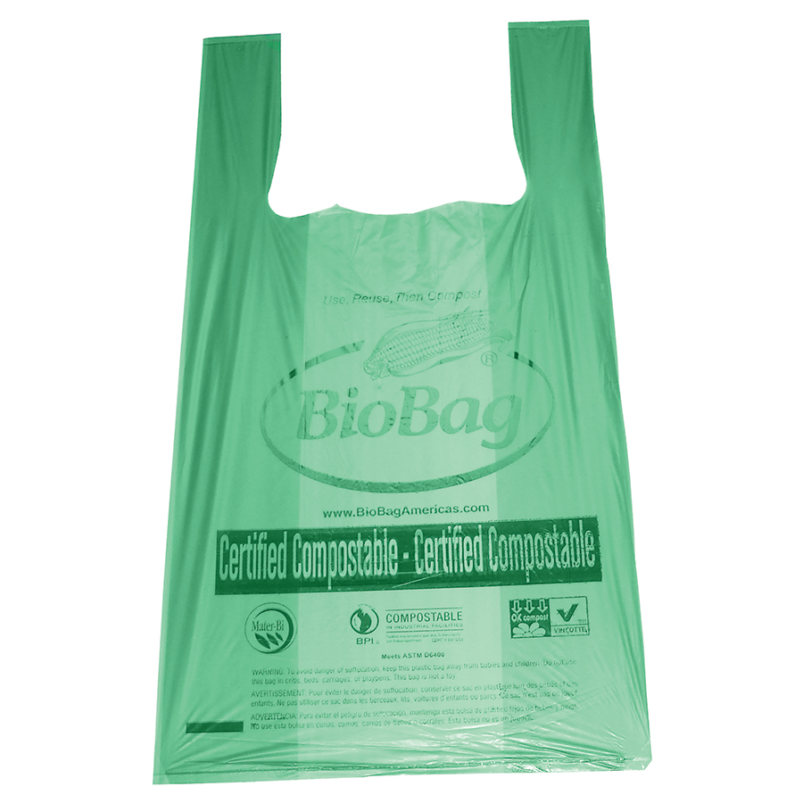 "T-Shirt Bag with Handles, Size: 16.1""x19.7"", Thickness: 0.8 Mil, Color: Green with black print, Compostable, 500/cs"