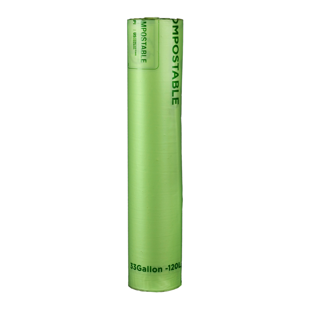 "Can Liner, 33""X39"", 1 mil, Color: Green with Black Print, perforated rolls, 33 Gallon Capacity, Compostable, 150/cs"