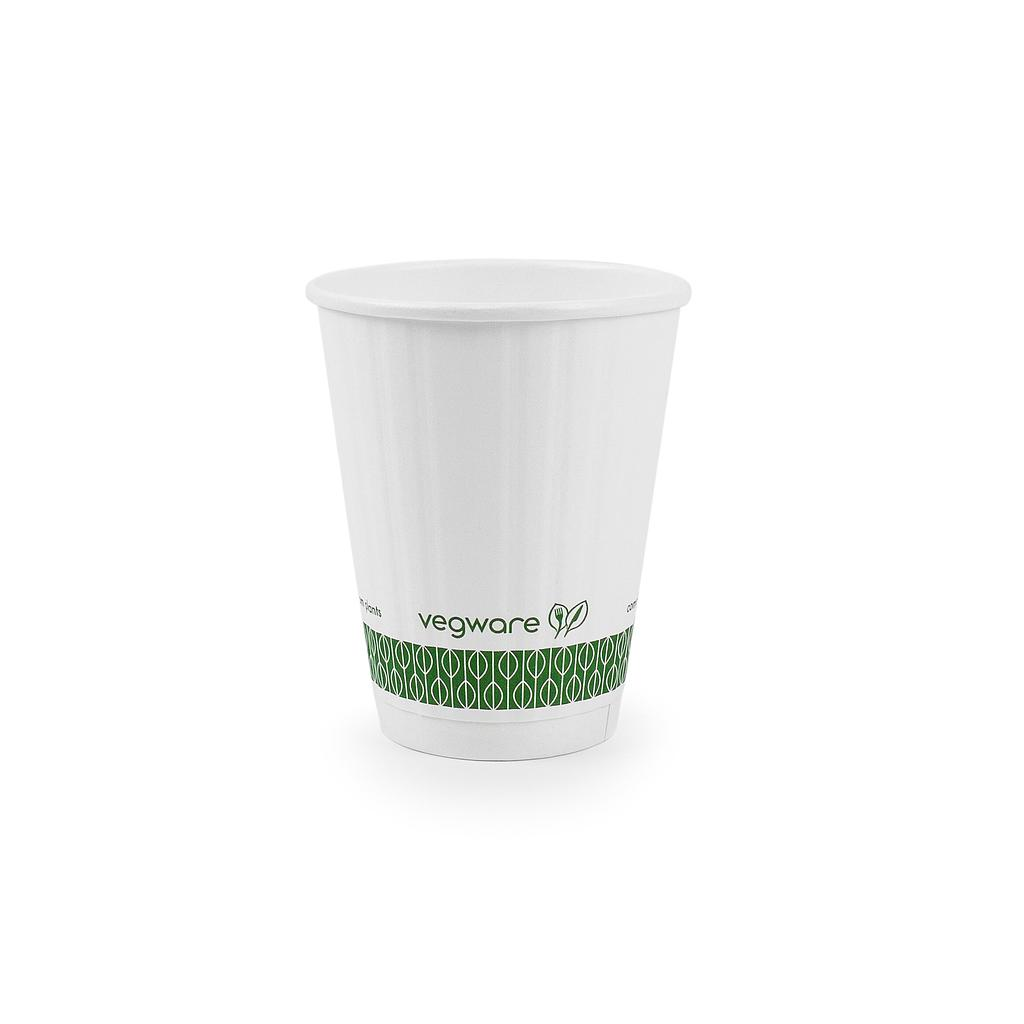 8 oz Hot Cup, Material: PLA lined paper, Insulated, Color: White with Green Print, Compostable, 1000/cs