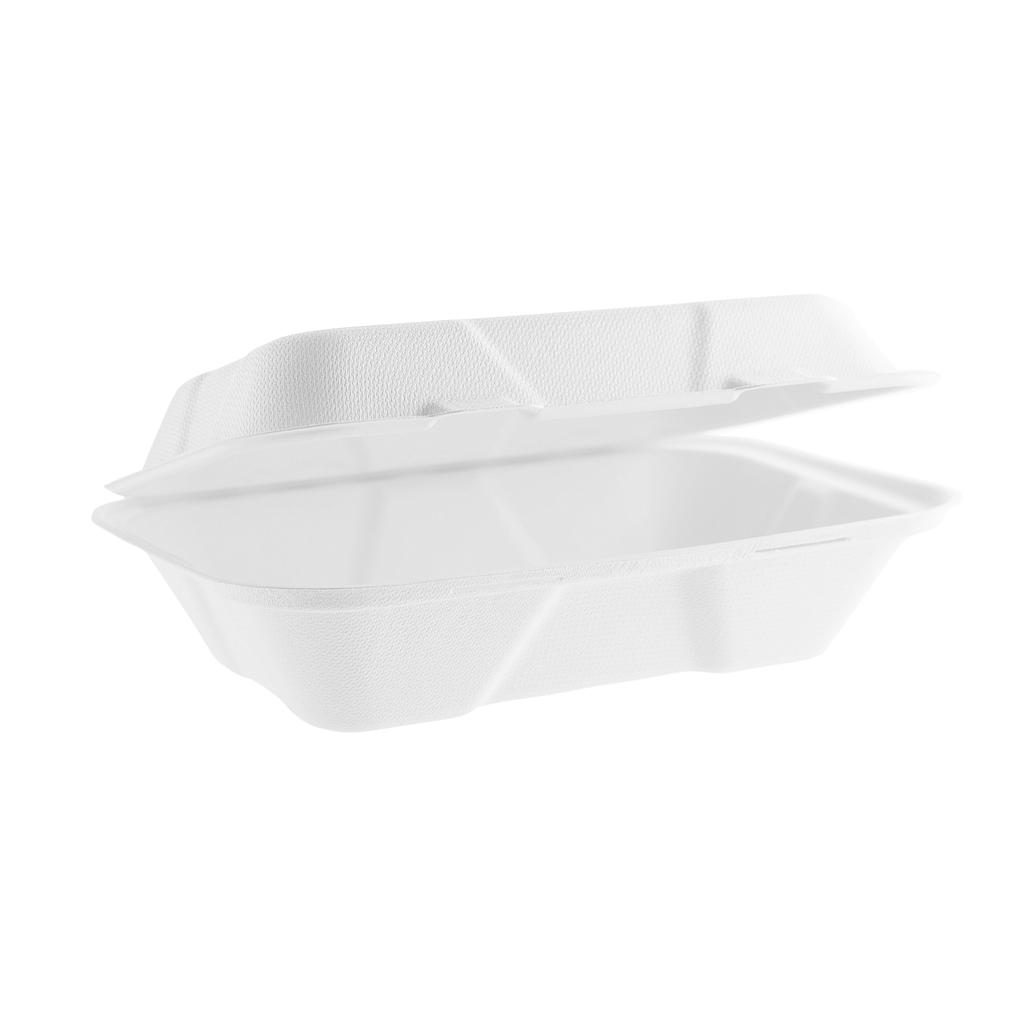 "Take-Out Container, hinged, Size: 9"" x 6"" x 3"", Material: sugarcane fiber, Compostable, 200/cs"