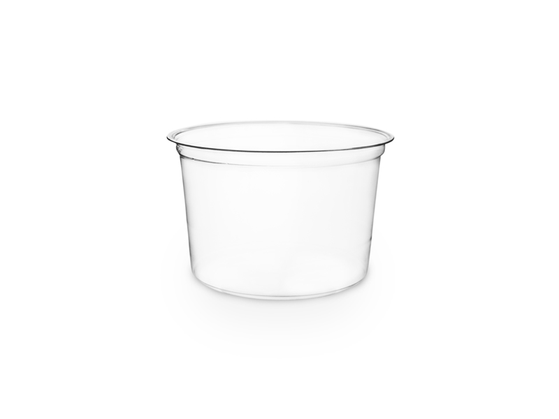 16 oz Round Deli Container, Color: Clear with green stripe, Material: PLA, Compostable, 500/cs