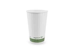 16 oz Hot Cup, Material: PLA lined paper, Insulated, Color: White with Green Print, Compostable, 500/cs