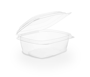 8 oz PLA Hinged Deli Container, Color: Clear, Compostable, 300/cs