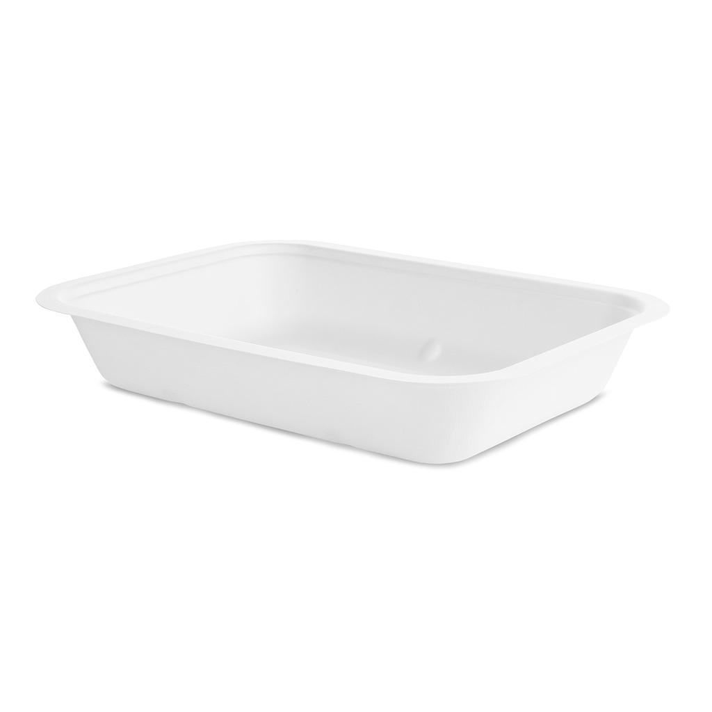 "*SPECIAL ORDER ITEM* 42 oz Bagasse Gourmet Take-Out Container Base, (fits size 5 lid) Size: 9.8""x7""x1.7"", Capacity: 1200ml, Material: Sugarcane, Color: White, Compostable, 600/cs *SEE DETAILS BELOW*"
