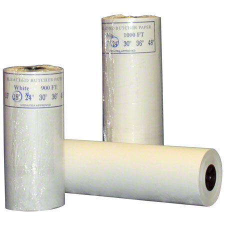 "Butcher Paper Roll, Size: 24""x900', Color: White, uncoated paper, FDA approved, Basis Paper Weight: 40#, Each"